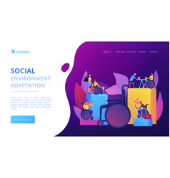 Social adaptation disabled people concept vector