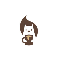squirrel coffee mug logo icon mascot character vector image