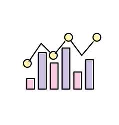 Statistics bar diagram data graph data vector