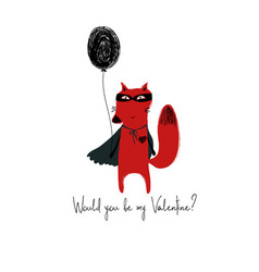 Superhero red fox holding a balloon vector
