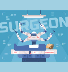 Surgicl robot performs surgery on a man vector