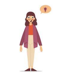 thinking business woman in suit with lightbulb vector image