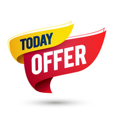 today offer template on waving flag web banner vector image