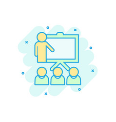 Training education icon in comic style people vector