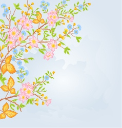 Twig shrub whit spring flowers background spring vector