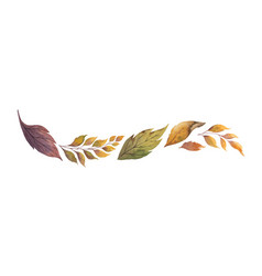 watercolor wreath with autumn leaves vector image