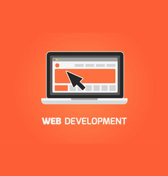 Web development laptop icon create website vector