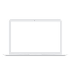 white laptop with white screen mock up vector image