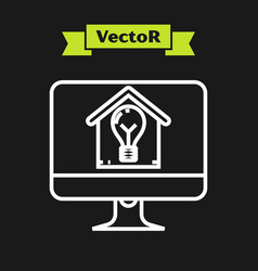 white line computer monitor with smart house and vector image