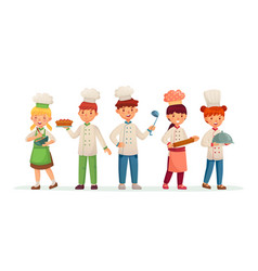 Young chefs happy children cooks kids cooking vector