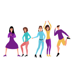 young happy dancing people vector image