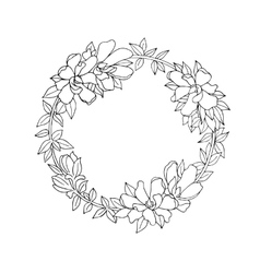 Black and white floral wreath vector image vector image