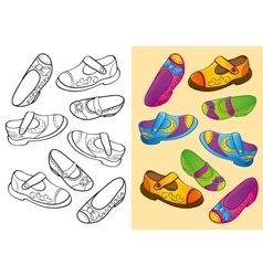 Coloring Book Of Set Dfferent Shoes vector image vector image