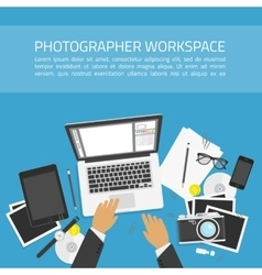 Photographer workspace concept vector image vector image