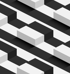 Striped 3d square hills seamless pattern vector