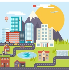 Urban landscape city real estate mountain forest vector