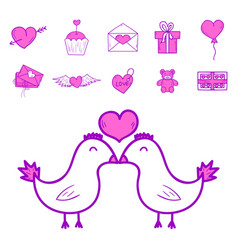 wedding outline icons married vector image