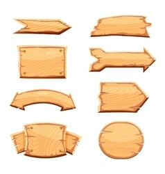 Wooden label isolated set vector image