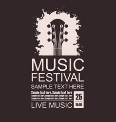 banner for music festival with a guitar fretboard vector image vector image