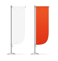 Blank Banner Flag Red and White Set vector image vector image