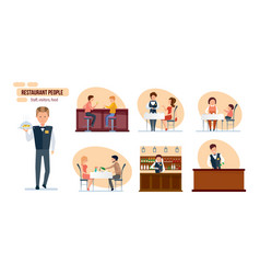 people friends bartender waiter mom child vector image vector image