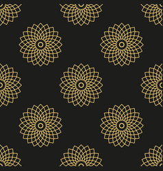 seamless pattern with golden mandalas on black vector image vector image