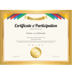 Certificate of participation template with gold vector