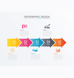 Infographics arrow number 5 step template vector