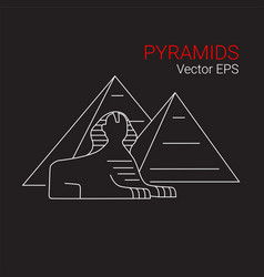 printsphinx and pyramid egypt line icon vector image