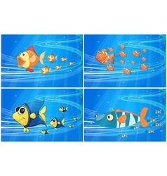 Scenes with fish under the water vector image vector image
