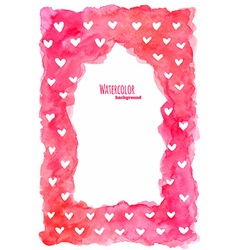 Watercolor frame with hearts vector image vector image