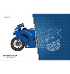 blue motorcycle in realistic style side view vector image vector image