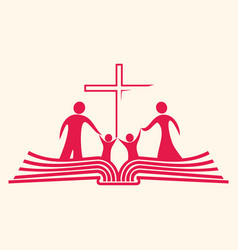 christian family and the bible vector image vector image