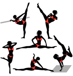 Girl sport woman in gym in yoga poses vector image