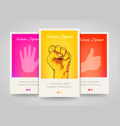 modern colorful vertical hand motive banners vector image vector image