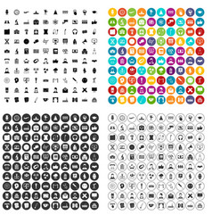 100 conference icons set variant vector image