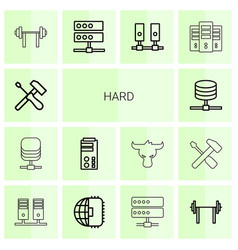 14 hard icons vector
