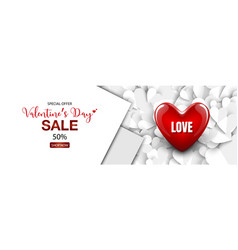 3d red heart design on white heart paper cut vector image
