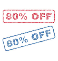 80 percent off textile stamps vector