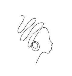 Abstract african woman face in profile with big vector