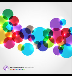 Abstract colorful circles with light glowing on vector