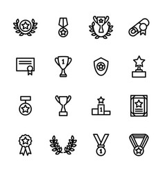 award signs black thin line icon set vector image