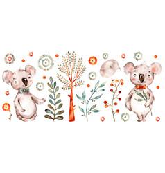 Baby cute koala watercolor nursery cartoon vector