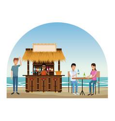 Beach and kiosks cartoons vector