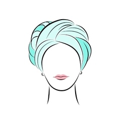 Beautiful young woman in turquoise turban vector