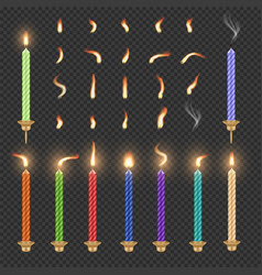 birthday candle and flame set isolated vector image