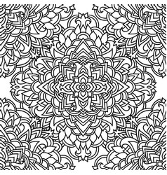 black and white seamless pattern mandala asian vector image