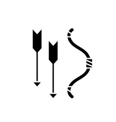 bow and arrows black icon sign on isolated vector image