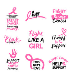 Breast cancer awareness pink hand drawn quote set vector