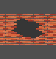 broken brick wall with a hole 3d isometric view vector image